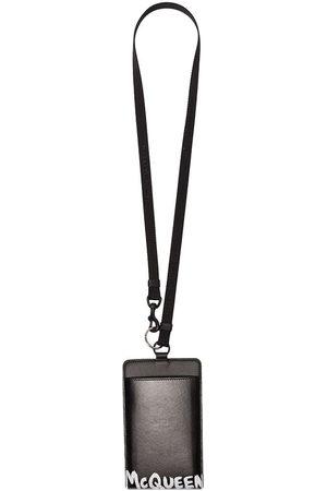 Alexander McQueen Black logo print leather smartphone case