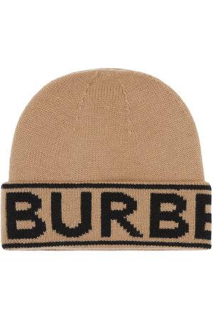 Burberry Logo Intarsia Cashmere Beanie - Nude