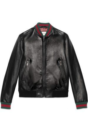 Gucci Jacke aus Leder mit Webstreifen
