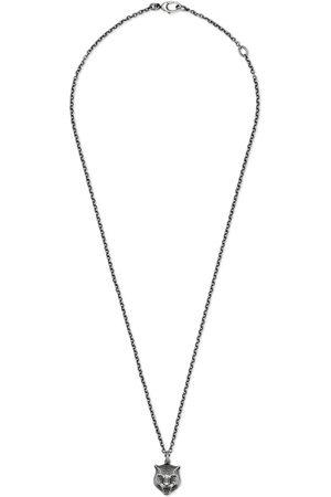 Gucci Halskette aus Silber mit Felinekopf