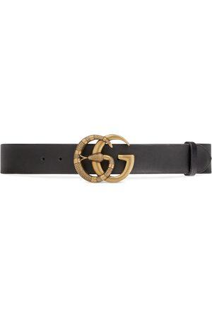 Gucci Herren Gürtel - Gürtel aus Leder mit Doppel G Schnalle mit Schlange