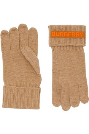 Burberry Cashmere logo appliqué gloves - Nude