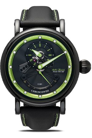 Chronoswiss Chronograph leather strap watch - Black and green