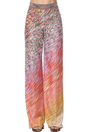 Missoni High Waist Viscose Knit Wide Leg Pants