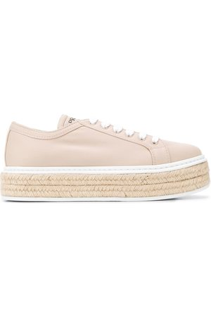 Prada Lace-up espadrille sneakers - Nude