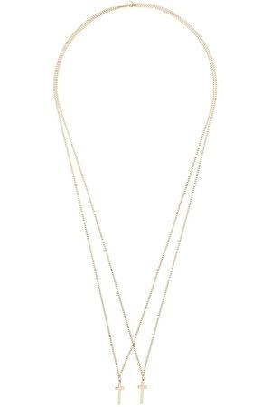 Dsquared2 Herren Halsketten - Doppelte Halskette mit Kreuzanhängern - Metallisch