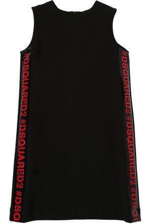 Dsquared2 Kleid Aus Baumwollfleece Mit Logostreifen