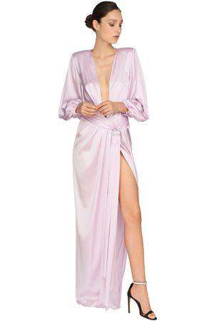 ALEXANDRE VAUTHIER Embellished Stretch Satin Long Dress