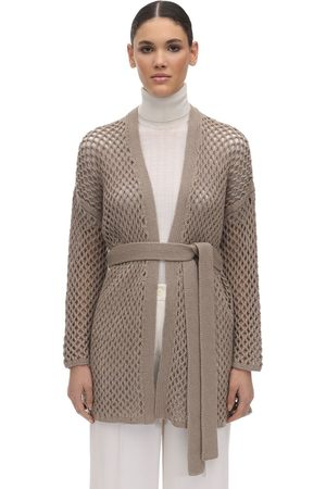 Agnona Belted Cashmere Knit Cardigan