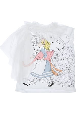 SCRAMBLED-EGO Alice Print Jersey T-shirt W/ Tulle