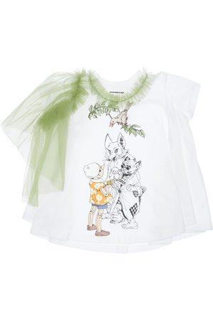 SCRAMBLED-EGO Pinocchio Print Jersey T-shirt W/ Tulle