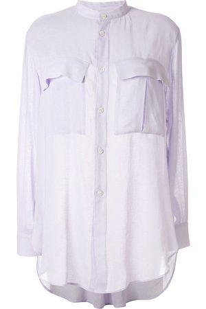 Y'S Damen Blusen - Bluse mit Stehkragen - Lila