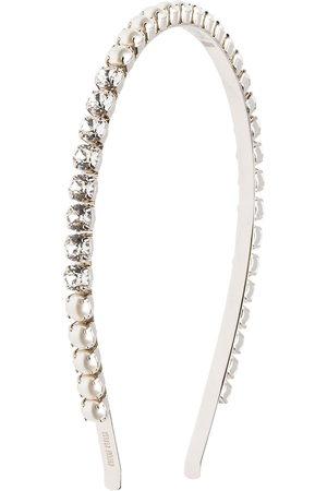 Miu Miu Haarreifen mit Perlen und Kristallen - Metallisch