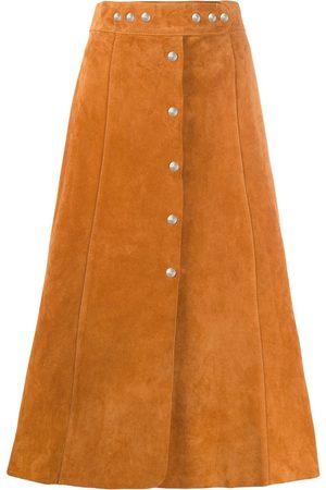 Prada A-line suede midi-skirt