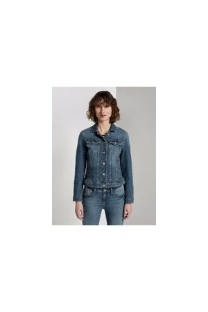 TOM TAILOR Jeansjacke, Damen, Used Dark Stone Blue Denim, Größe: XL