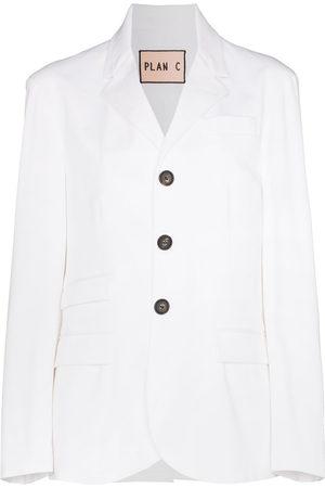 Plan C Damen Blazer & Sakkos - Single-breasted cotton-blend blazer