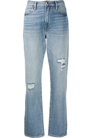 Frame Distressed straight-leg jeans