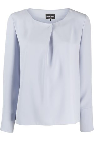 Armani Pleated detail long-sleeved blouse
