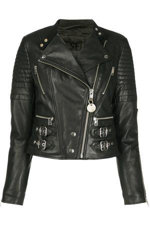 Diesel Flared biker jacket in sheepskin leather