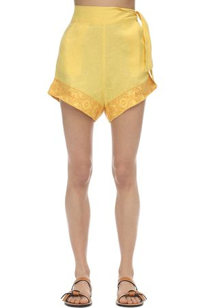 Carolina K Sandy Embroidered Linen Shorts