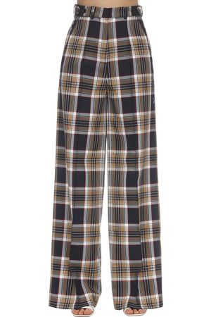 Rokh Damen Lange Hosen - Long Check Techno Twill Pants
