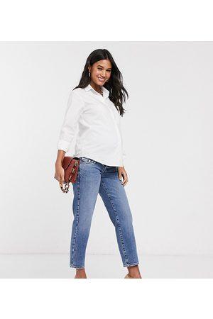 River Island Maternity Jeans mit geradem Bein und Bund über dem Babybauch in mittlerer Authentic-Waschung