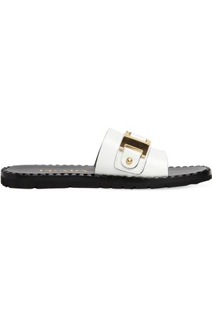 Prada 10mm Embellished Brushed Leather Slides