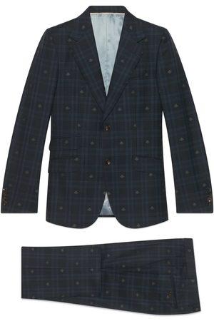 Gucci Herren Anzüge - Heritage Anzug aus karierter Wolle mit Bienen-Motiv