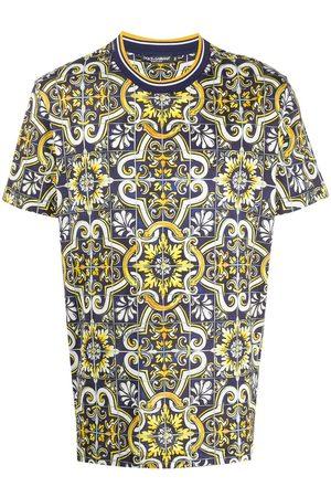Dolce & Gabbana Herren Shirts - T-Shirt mit Maiolica-Print