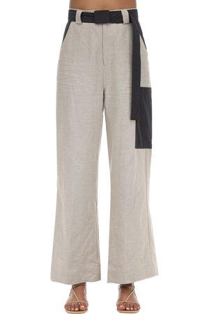 Ganni Linen Wide Leg Pants