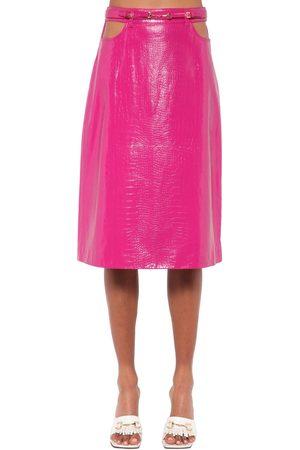 DODO BAR OR Perla Leather Midi Skirt W/ Cutouts
