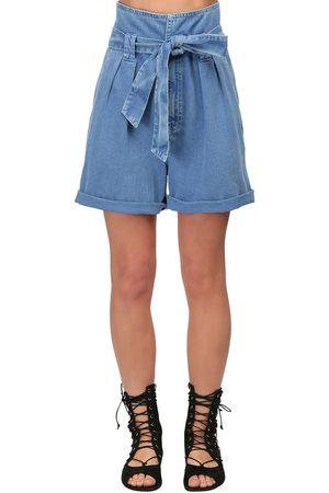 TEMPERLEY LONDON High Waist Cotton Denim Shorts