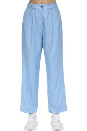 Agnona Damen Weite Hosen - High Waist Wide Leg Wool Pants