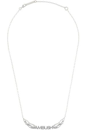 AMBUSH Sterling silver flames logo necklace