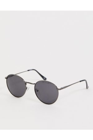 ASOS Runde Metallsonnenbrille in Gunmetal mit getönten Gläsern