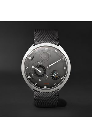 Ressence Herren Uhren - Type 2G Automatic 45mm Titanium and Leather Watch with Smart Crown Technology
