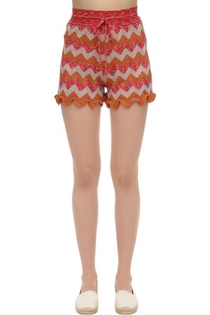 M Missoni Ruffled Lurex Knit Shorts