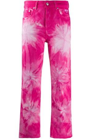 Msgm Tie-dye print cropped jeans