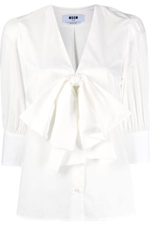 Msgm Oversized bow cropped sleeve shirt