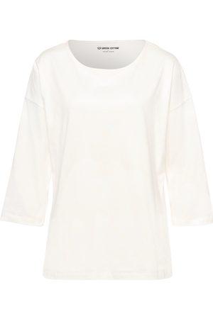 Green Cotton Damen Longsleeves - Shirt weiss