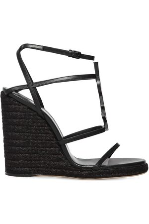 "Saint Laurent 105mm Hohe Wedge-espadrilles Aus Leder ""opium"""