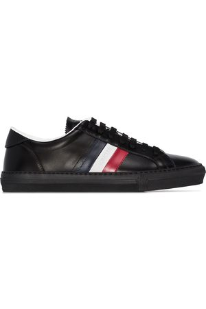 Moncler Herren Sneakers - Black new monaco tri-colour stripe leather sneakers
