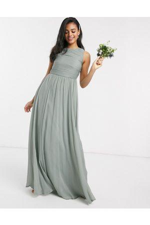 ASOS Langes Brautjungfern-Kleid mit weich plissiertem Oberteil
