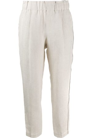 Brunello Cucinelli Brass-embellished cropped trousers - Nude