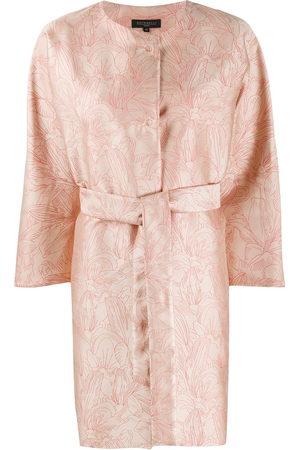 ANTONELLI Floral-print belted coat - Nude