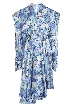 Balenciaga Damen Bedruckte Kleider - Floral bedrucktes Seidenkleid Gather
