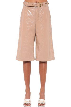 DODO BAR OR Damen Shorts - Deniz Croc Printed Leather Bermuda Short