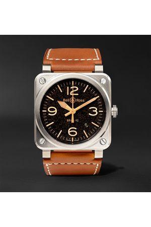 Bell & Ross Herren Uhren - BR 03-92 Golden Heritage 42mm Steel and Leather Watch, Ref. No. BR0392‐ST‐G-HE/SCA