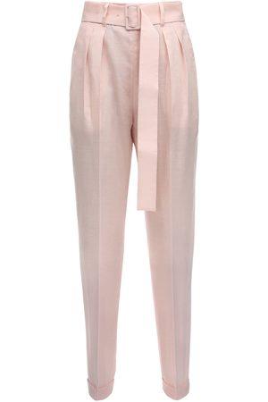 Agnona High Waist Mohair Blend Pants W/ Belt