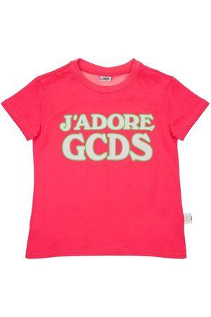 GCDS T-shirt Aus Baumwolljersey Mit Gummiertem Logo